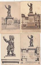 Lot 4 cartes postales ancienne DUNKERQUE statue jean bart