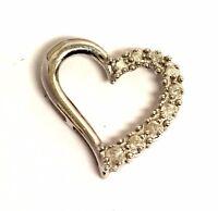 10k white gold .17ct I3 H diamond heart pendant 1g estate vintage antique