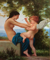 LMOP521 naked girl &angel baby portrait handmade art oil painting on canvas