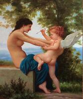 LMOP521 naked girl &angel baby portrait handmade art oil painting on canvas