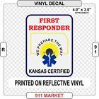 Kansas First Responder Reflective Decal KS EFR FR Medical EMT Car Sticker - R 91