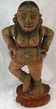 Antique Parvati Devi Goddess Statue Hindu Temple Wooden Hand Carved Sculpture