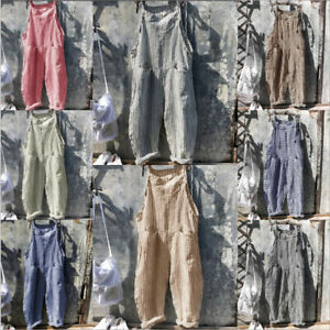 Women Stripe Dungarees Baggy Jumpsuit Hippy Harem Pant Overall Strap Cargo Pants