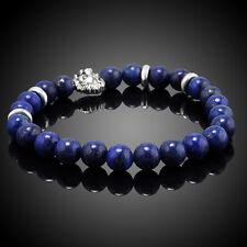 Fashion Men's Blue Sodalite Silver Lion Head Beaded Yogo Stretch Bracelet