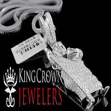 10K White Gold On Silver Saint Jude San Judas Pendant Charm Simu Diamond + Chain