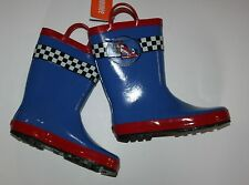 New Gymboree Race Car Style Blue Rain Boots Size 11 Kid NWT Boys Rubber Boot