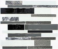 Glas Natursteinmosaik grau schwarz Fliesenspiegel Duschwand 67-GV34 |10Matten
