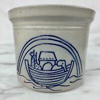 David Eldreth Pottery SALT GLAZE CROCK Cobalt Blue NOAH'S ARK Mint 1991