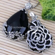 1pc Black Agate Onyx Teardrop Inlaid Flower Gemstone Bead Pendant for Necklace