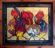 """Luis Sottil """"Colorful Interaction"""" Roosters Hand Signed Artwork Art Naturalismo"""
