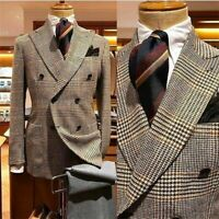 Houndstooth Men's Suits Peak Lapel Jacket Double Breasted Coat Business Tuxedos