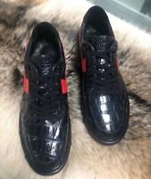 Men's Shoes Genuine Crocodile Alligator Skin Leather Handmade Black #SM1909