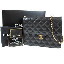 Chanel Imbottito Matelasse Catena Borsa a Tracolla Nera pelle Vintage Auth #P65
