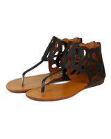 Bumper Lory-110 New Women Leatherette Thong Cutout Gladiator Flat Sandal Sz 6-10