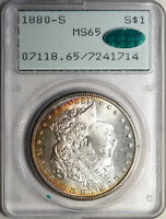 1880-S Morgan PCGS MS65 CAC 1st Gen OGH Rattler! Toned w/ Frosty, Cameo Look!