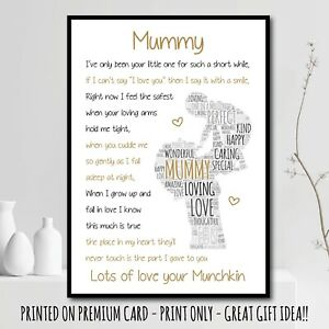 PERSONALISED Mummy POEM Mother's Day Gifts Birthday Baby Present Print Mum 35