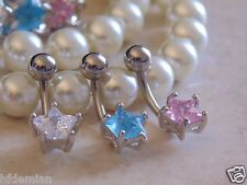 Star Cubic Zirconia Prong Set Navel/Belly Ring. 3 Pcs Value Pk of Assorted Color