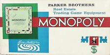 Monopoly board game Parker Brothers Real Estate trading game 1961 edition