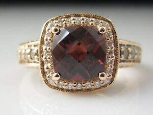 LeVian Garnet Diamond Ring 14K Rose Gold Halo Cushion Chocolate Vanilla Jewelry