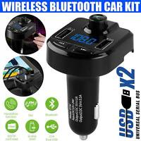 Bluetooth 5.0 Wireless Car FM Transmitter MP3 Player Radio 2 USB Charger Adapter