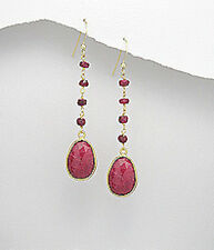 58mm 18K Yellow Gold Plated LONG Ruby Teardrop Hook Dangle Earrings 4g