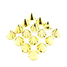 50 Sew On Spikes Stud Metallic Plated Acrylic Cone 5 sizes silver gold gun metal