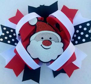 """Santa Red Black Sparkle Santa Felt Center Piece Hair Bow 5"""""""