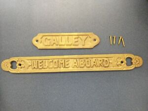 Solid Brass Welcome Aboard & Galley Signs Plaques