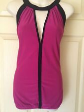 CITY CHIC FUSCHIA PINK & BLACK KEYHOLE TOP SIZE S/16