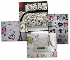 New J'Adore Bonjour Paris B Kids Twin Comforter Sham Dream Space Sheet Set 5 Pc