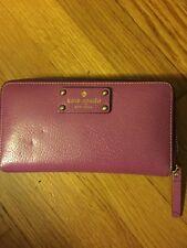 Kate Spade Neda Zip Around Wallet (Purple) Zip Coin Slots Credit Cards Polka Do