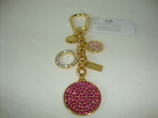 New Coach Signature Jeweled Disc Pave Crystal Charms Key Fob