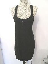H&M - BLACK SCOOP NECK, RACING BACK COTTON BLEND DRESS Size 36