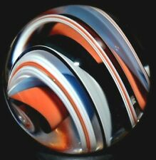 """STEVEN MASLACH HANDMADE GLASS MARBLE/1.111""""WIDE RIBBON FADED PATRIOT-TOMATO,TEAL"""