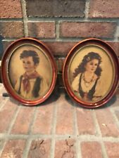Set of 2 Vintage Portraits by Ann Allaben Framed Boy Chiko and Girl Elena