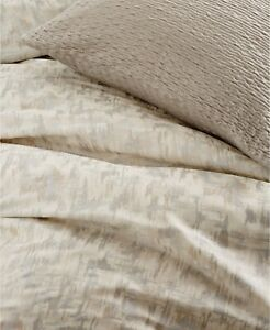 DKNY Donna Karan Home Motion Oatmeal KING Duvet Comforter Cover Silver