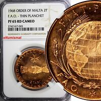 Malta, 1968 Order Of 2 Tari FAO-THIN PLANCHET NGC PF65 RD CAMEO TOP GRADED X# 23