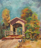 1950s OREGON COVERED BRIDGE Oil Painting HARRIS STATION BENTON CTY MARYS RIVER