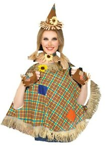 Adult Womens Scarecrow Hat Glovelettes Patches Straw And Plaid Poncho Costume