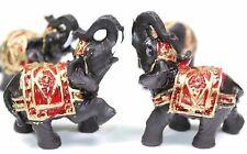 Set of 4 Feng Shui Black Thai Elephant Statues Lucky Figurine Gift & Home Decor