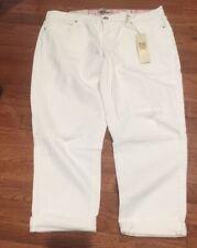 NWT VINTAGE AMERICA Distressed WHT Denim Boyfriend Ankle Roll Up Capris Jeans 8