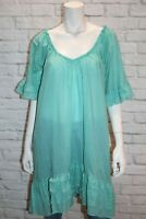 Holiday Brand Women's Teal Soft Cotton Short Sleeve Day Dress Size M #AN02