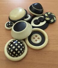 Group of 9 Vintage Black & White Celluloid Buttons