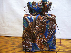 Brown Owls on blue cotton Fabric Handmade square Tissue Box Cover