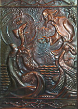 Vintage Soviet Russian Copper Wall Decor Plaque Golden Fish Fairy tale