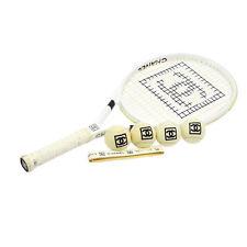 Authentic CHANEL CC Logos Tennis Racket Ball SET White Black Plastic VTG AK15225