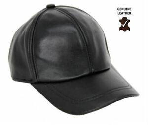 Genuine Leather Men's Baseball Cap 6 Panel Soft Sheepskin Adjustable Strap AAA++