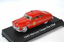 MERCURY COUPE FIRE CHIEF 1949 '49 MOTORMAX 73803R 1:43 NEW DIECAST MODEL RED