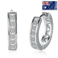 Wholesale 925 Sterling Silver Filled Clear Crystal Huggie Hoop Earrings Elegant