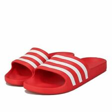Men's adidas Adilette Aqua Lightweight Quick Dry Slider Sandals in Red